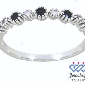 Blue Sapphire Round Diamond Fancy Band White Gold